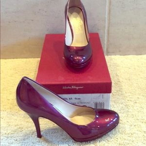 "Salvatore Ferragamo Burgundy/Purple Patent 2""Heels"